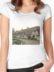 Pretty Cottages All in a Row Women's Fitted Scoop T-Shirt