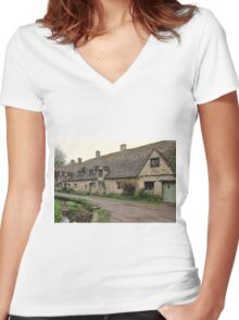 Pretty Cottages All in a Row Women's Fitted V-Neck T-Shirt