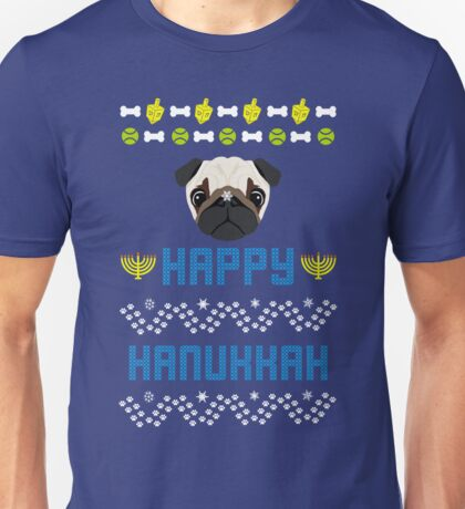 Pugly Hanukkah Ugly Christmas Sweater Style Unisex T-Shirt