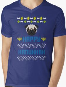 Pugly Hanukkah Ugly Christmas Sweater Style Mens V-Neck T-Shirt