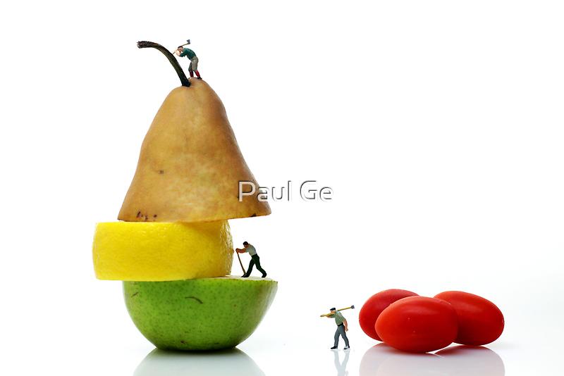 Lumberjacks working on fruits by Paul Ge