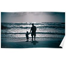 Father and Son on the beach at dusk Poster