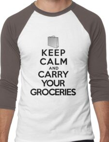 Keep calm and carry your groceries Men's Baseball ¾ T-Shirt