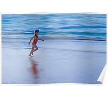 Girl running on the beach Poster