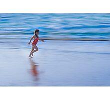 Girl running on the beach Photographic Print