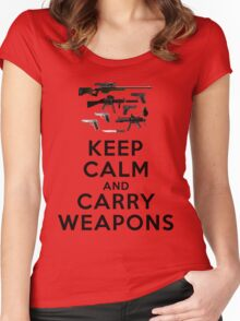 Keep calm and carry weapons Women's Fitted Scoop T-Shirt