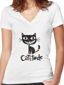 Catitude Women's Fitted V-Neck T-Shirt