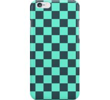 Checkered Aqua and Black Pattern iPhone Case/Skin