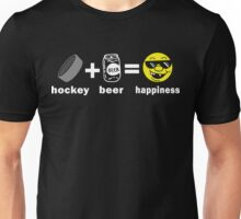 Funny Hockey + Beer = Happiness Unisex T-Shirt