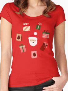 Santa Claus Pattern - Spruce Forest Women's Fitted Scoop T-Shirt