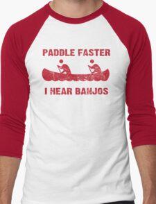 Paddle Faster I Hear Banjos - Vintage Red  Men's Baseball ¾ T-Shirt