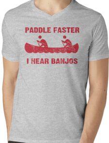 Paddle Faster I Hear Banjos - Vintage Red  Mens V-Neck T-Shirt