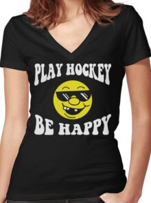 Funny Hockey Women's Fitted V-Neck T-Shirt