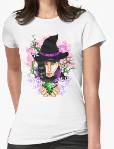 Green-Eyed Healing Witch Womens Fitted T-Shirt