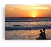 Father-Daughter Sunset Canvas Print