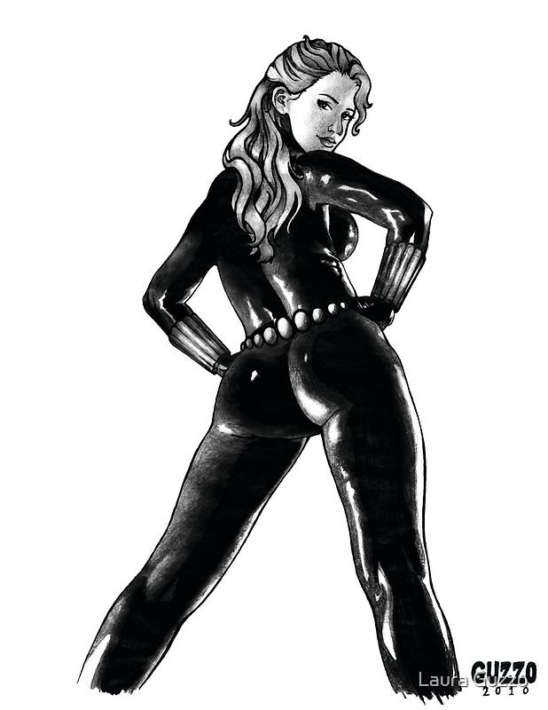 Black Widow in Latex by Laura Guzzo