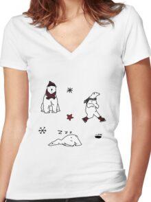 CHRISTMAS POLAR BEAR PATTERN Women's Fitted V-Neck T-Shirt