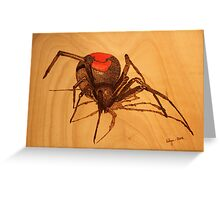 Pyrography: Australian Redback Spider Greeting Card