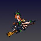 Witch on Broom Pinup by screamingtiki