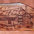 Pyrography: Rustic Cabin by aussiebushstick