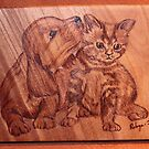 Pyrography: The 'Kleenex' Puppy & Kitten by aussiebushstick