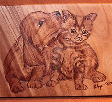 Pyrography: The 'Kleenex' Puppy & Kitten by aussiebushstick
