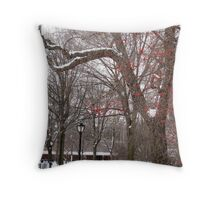 Red Berries in Snowy Central Park Throw Pillow