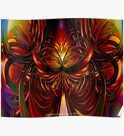 Abstract Fire Heart Fx  Poster