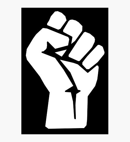 FIST, White, Rebel, Fight, Rebellion, Strength, Power, Grasp, tough, MMA Photographic Print