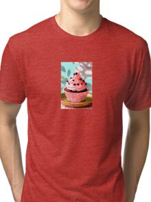 Chocolate Cupcakes with Pink Buttercream Tri-blend T-Shirt