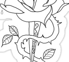rose and the dagger larry tattoos Sticker