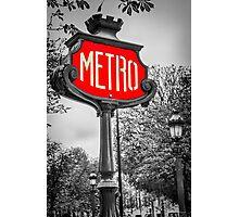 Classic Metro Station Sign Photographic Print