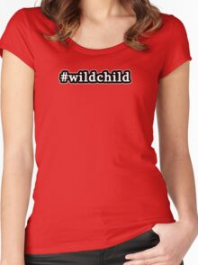 Wild Child - Hashtag - Black & White Women's Fitted Scoop T-Shirt