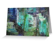 AQUATIC COMMOTION in Color - Textural Ocean Beach Nautical Abstract Acrylic Painting Wow Winter Xmas Greeting Card