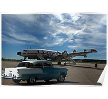 1955 Chevy and Lockheed Constellation Super G Airplane Poster
