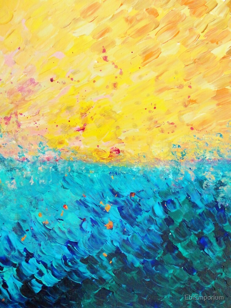THE DIVIDE - Stunning Bold Colors, Ocean Waves Sun, Modern Beach Chic Theme Abstract Painting by EbiEmporium