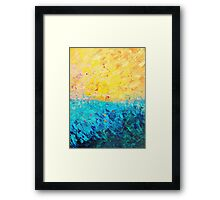 THE DIVIDE - Stunning Bold Colors, Ocean Waves Sun, Modern Beach Chic Theme Abstract Painting Framed Print