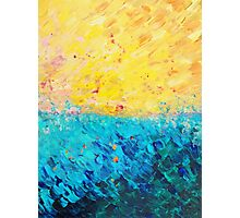 THE DIVIDE - Stunning Bold Colors, Ocean Waves Sun, Modern Beach Chic Theme Abstract Painting Photographic Print