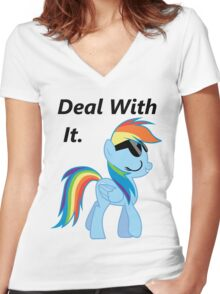 Deal With It -Dash  Women's Fitted V-Neck T-Shirt