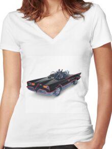 1966 Batmobile Women's Fitted V-Neck T-Shirt