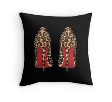 LOUBOUTIN in leopard Throw Pillow