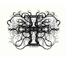 Celtic Cross (Black & White) Art Print