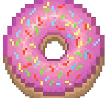 Pixel Pink Frosted Sprinkled Donut by petra1999