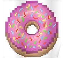 Pixel Pink Frosted Sprinkled Donut Poster