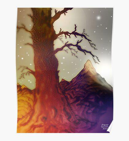 Fantasy Tree Pen Drawing Poster