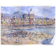 Panoramica del lungomare di Genova Pegli Poster