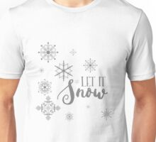 Elegant White and Gray Let it Snow Abstract snowflakes Unisex T-Shirt