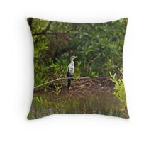 Long-tailed Cormorant Throw Pillow