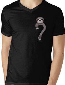 Pocket Sloth Mens V-Neck T-Shirt