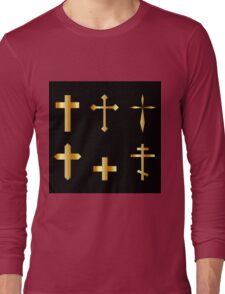 golden christian crosses in different designs  Long Sleeve T-Shirt